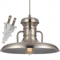 "Brushed Steel Plug In Railroad Pendant Light 16""W"