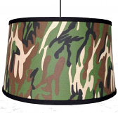 "Rustic Swag Lamp Camouflage Drum 15""W - Sale !"