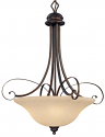 "Chateau Turinian Scavo Glass Pendant Light Bronze Iron Scrolls 26""Wx32""H"