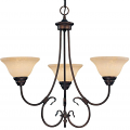 "Fulton Rubbed Bronze Chandelier Scavo Glass 25""Wx24""H"