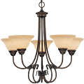 "Fulton Rubbed Bronze Chandelier Scavo Glass 26""Wx25""H"