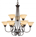 "Fulton Rubbed Bronze Chandelier Scavo Glass 33""Wx35""H"
