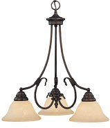 "Fulton Rubbed Bronze Down Light Chandelier Scavo Glass 21""Wx23""H"