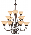 "Fulton Rubbed Bronze Chandelier Scavo Glass 46""Wx45""H"