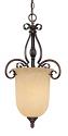 "Auburn Bronze Chandelier Pendant Turinian Glass Shade 14""Wx26'H"