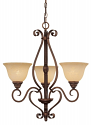 "Auburn Bronze Chandelier Turinian Glass Shades 24""Wx26""H"