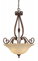 "Auburn Bronze Chandelier Turinian Glass Shades 26""Wx32'H"