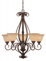 "Auburn Bronze Chandelier Turinian Glass Shades 29""Wx32'H"