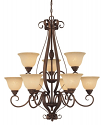 "Auburn Bronze Chandelier Turinian Glass Shades 33""Wx37""H"