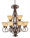 "Auburn Bronze Chandelier Turinian Glass Shades 38""Wx42""H"