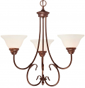 "Fulton Rubbed Bronze Chandelier White Glass 25""Wx24""H"