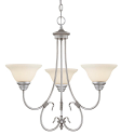 "Fulton Rubbed Silver Chandelier White Glass 25""Wx24""H"