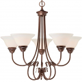 "Fulton Rubbed Bronze Chandelier White Glass 26""Wx25""H"