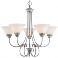 "Fulton Rubbed Silver Chandelier White Glass 26""Wx25""H"