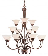 "Fulton Rubbed Bronze Chandelier White Glass 46""Wx45""H"