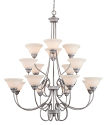 "Fulton Rubbed Silver Chandelier White Glass 46""Wx45""H"