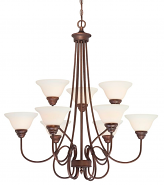 "Fulton Rubbed Bronze Chandelier White Glass 33""Wx35""H"