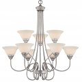 "Fulton Rubbed Silver Chandelier White Glass 33""Wx35""H"