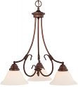 "Fulton Rubbed Bronze Down Light Chandelier White Glass 21""Wx23""H"