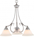 "Fulton Rubbed Silver Down Light Chandelier White Glass 21""Wx23""H"