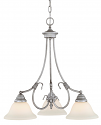 "Fulton Rubbed Silver Chandelier White Glass 21""Wx23""H"