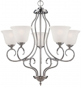 "Cleveland Satin Nickel Chandelier Scavo Glass 26""Wx27""H"