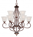 "Cleveland Rubbed Bronze Chandelier Scavo Glass 30""Wx31""H"