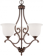 "Courtney Lakes Bronze Chandelier White Glass 20""Wx25""H"