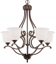 "Courtney Lakes Bronze Chandelier White Glass 27""Wx30""H"
