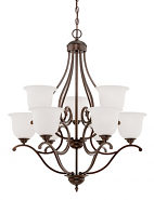 "Courtney Lakes Bronze Chandelier White Glass 30""Wx35""H"