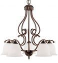 "Courtney Lakes Bronze Down Light Chandelier White Glass 27""Wx30""H"