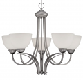 "Austin Brushed Pewter Chandelier White Etched Glass 27""Wx23""H"