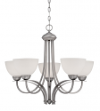 """Austin Brushed Pewter Chandelier White Etched Glass 27""""Wx23""""H"""
