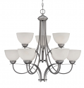 "Austin Brushed Pewter Chandelier White Etched Glass 31""Wx30""H"
