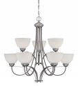 """Austin Brushed Pewter Chandelier White Etched Glass 31""""Wx30""""H"""