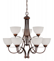 "Austin Brushed Bronze Chandelier White Etched Glass 31""Wx30""H"