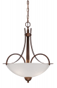 "Austin Brushed Bronze Pendant Light White Etched Glass 19""Wx21""H"