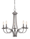 """Austin Brushed Pewter Candlestick Chandelier 24""""Wx23""""H"""