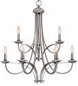 "Austin Brushed Pewter Candlestick Chandelier 28""Wx30""H"