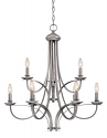 """Austin Brushed Pewter Candlestick Chandelier 28""""Wx30""""H"""