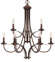 "Austin Brushed Bronze Candlestick Chandelier 28""Wx30""H"