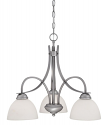 """Austin Brushed Pewter Chandelier White Etched Glass 24""""Wx19""""H"""