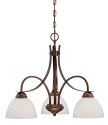 """Austin Brushed Bronze Chandelier White Etched Glass 24""""Wx19""""H"""
