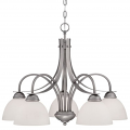"Austin Brushed Pewter Down Light Chandelier White Etched Glass 27""Wx21""H"