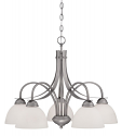 """Austin Brushed Pewter Chandelier White Etched Glass 27""""Wx21""""H"""