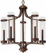"""Milan Rubbed Bronze Candlestick Chandelier 25""""Wx27""""H"""