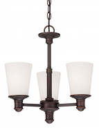 "Cimmaron Dark Bronze Chandelier White Glass 17""Wx18""H"
