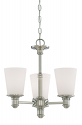 "Cimmaron Satin Nickel Chandelier White Glass 17""Wx18""H"