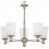 "Cimmaron Satin Nickel Chandelier White Glass 24""Wx22""H"