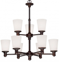 "Cimmaron Dark Bronze Chandelier White Glass 28""Wx30""H"